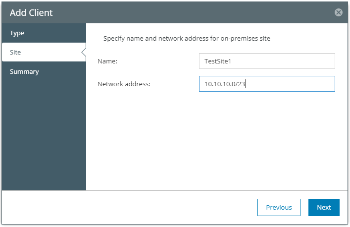 Name-the-client-and-choose-subnet Veeam Powered Network Overview and Installation