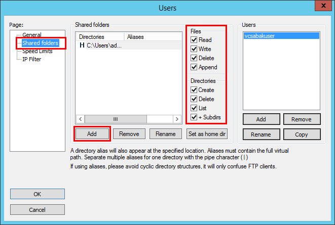 Setup-the-directory-and-permissions-for-the-FTP-target Setup a FileZilla Server for VCSA backup