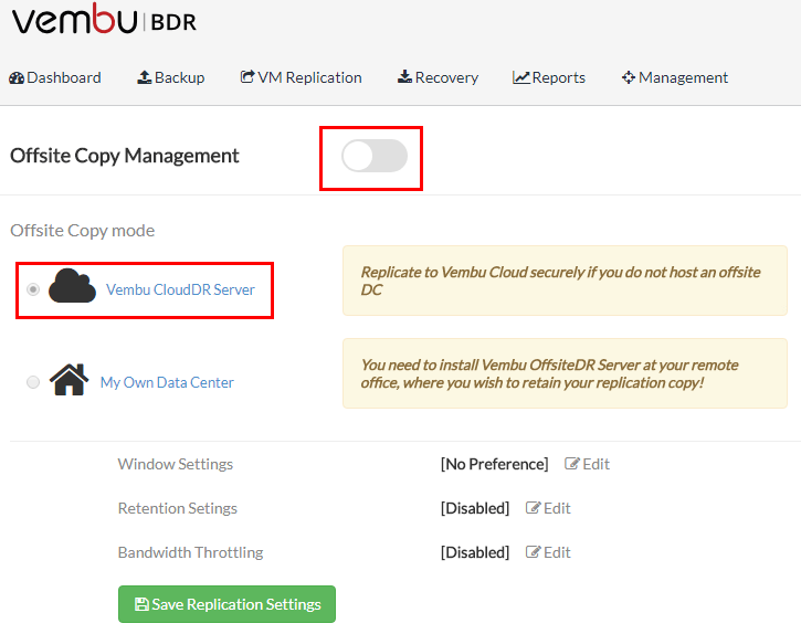 Turn-on-Offsite-Copy-Management-Vembu-CloudDR-Server