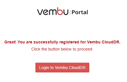 Vembu-CloudDR-registered-successfully