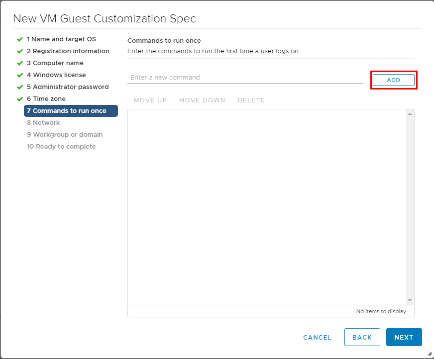Add-commands-to-run-the-first-time-a-user-logs-in Using VMware vSphere VM Customization Specification