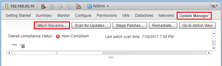 Attach-the-baseline-to-the-host Upgrade Dell VMware ESXi 6.0 Cluster to 6.5 U1 with VUM