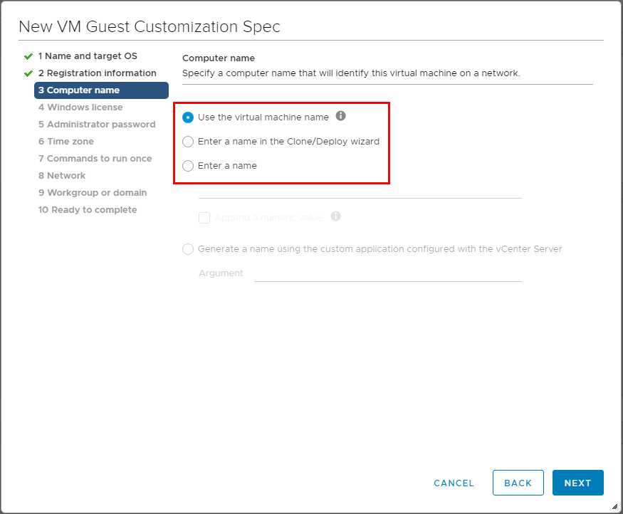 Choose-how-to-customize-the-computer-name Using VMware vSphere VM Customization Specification