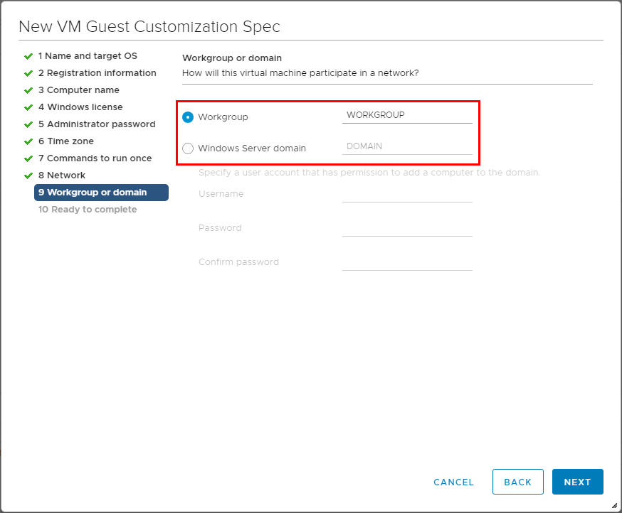 Choose-whether-to-join-domain-or-workgroup Using VMware vSphere VM Customization Specification
