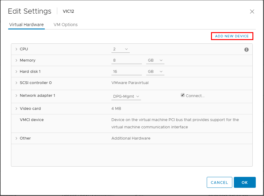 Click-Add-New-Device-on-the-new-VIC-appliance Upgrade VMware vSphere Integrated Containers VIC Appliance