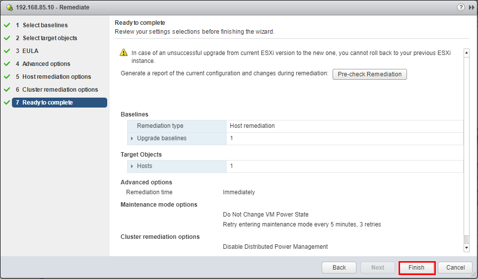 Completing-the-remediation-wizard Upgrade Dell VMware ESXi 6.0 Cluster to 6.5 U1 with VUM