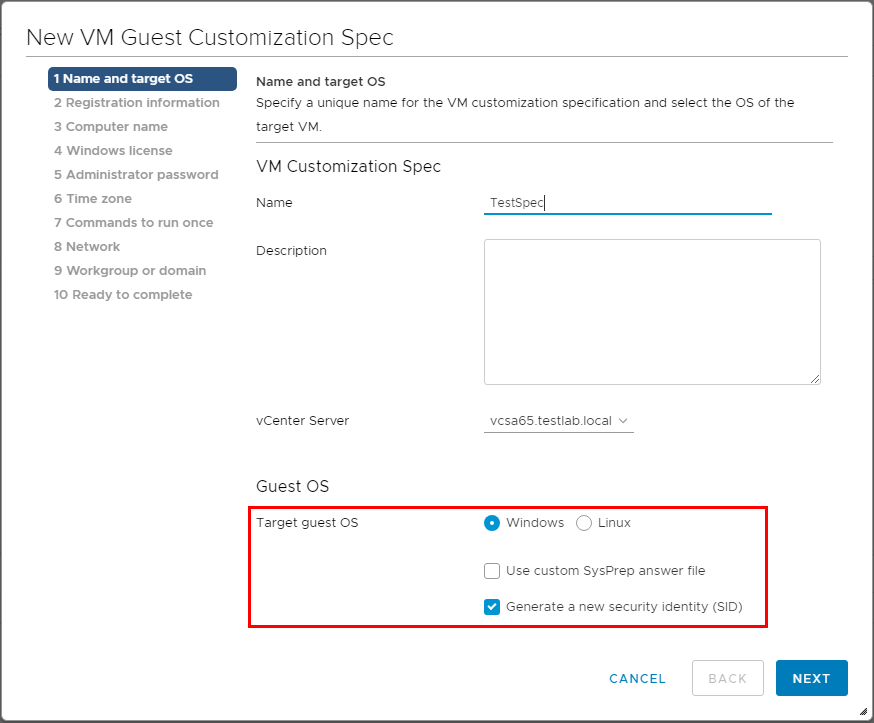 Customize-the-name-and-target-OS Using VMware vSphere VM Customization Specification