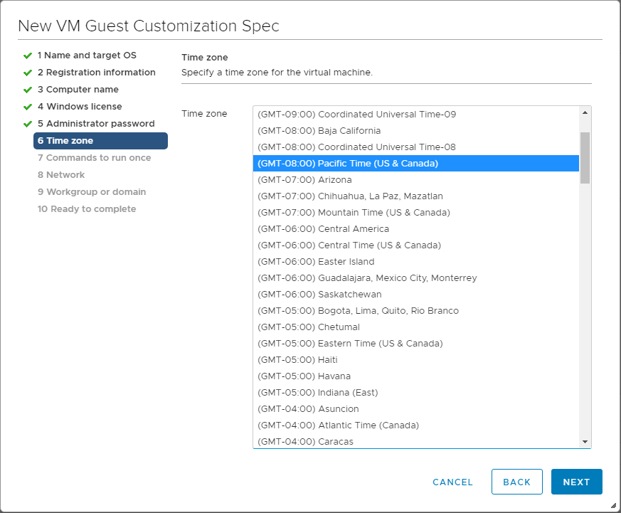 Customize-the-time-zone-for-the-virtual-machine Using VMware vSphere VM Customization Specification