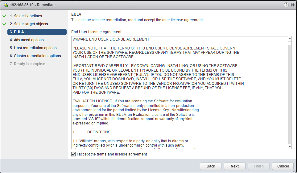 EULA-Agreement Upgrade Dell VMware ESXi 6.0 Cluster to 6.5 U1 with VUM