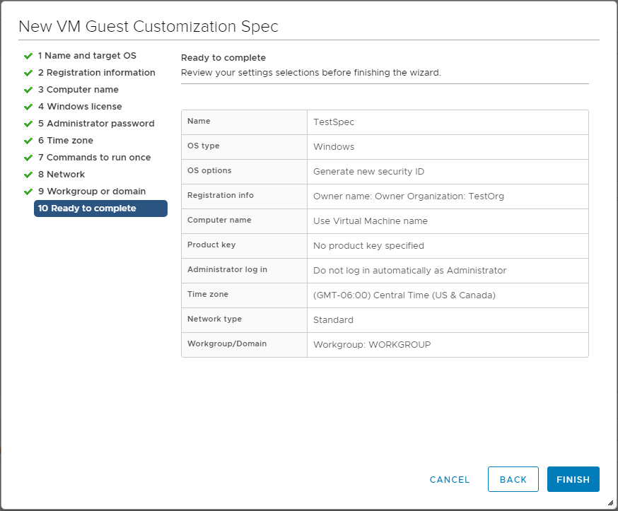 Finalize-the-customization-specification Using VMware vSphere VM Customization Specification