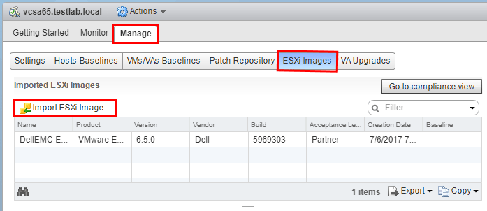 Import-Dell-Customized-ISO-into-VUM Upgrade Dell VMware ESXi 6.0 Cluster to 6.5 U1 with VUM