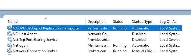 Nakivo-Transporter-Windows-Service-installed Backup Hyper-V clusters with Nakivo