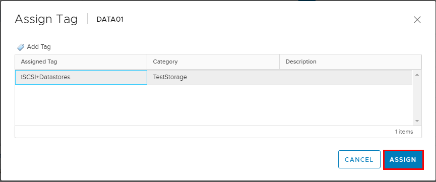 Select-the-tag-to-assign-to-the-datastore Using VMware VM Storage Policies