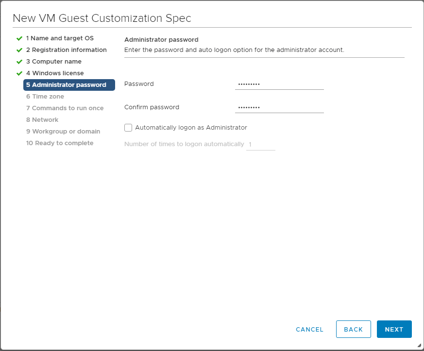 Set-the-administrators-password Using VMware vSphere VM Customization Specification