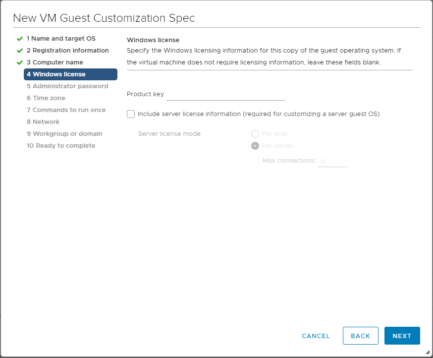 Specify-the-Windows-licensing-information Using VMware vSphere VM Customization Specification