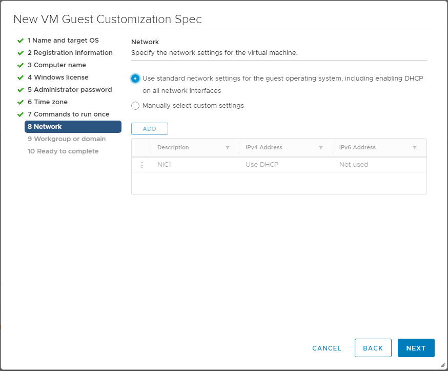 Specify-virtual-machine-network-settings Using VMware vSphere VM Customization Specification