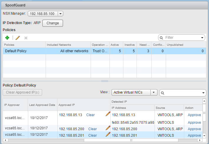 SpoofGuard-enabled-with-detected-IPs-showing What is VMware NSX SpoofGuard