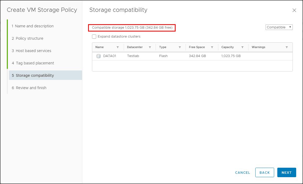 Storage-compatiblity-is-shown Using VMware VM Storage Policies
