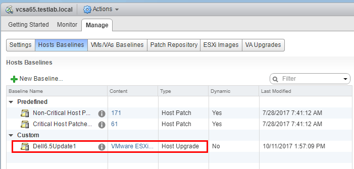 The-new-baseline-appears-in-VUM Upgrade Dell VMware ESXi 6.0 Cluster to 6.5 U1 with VUM