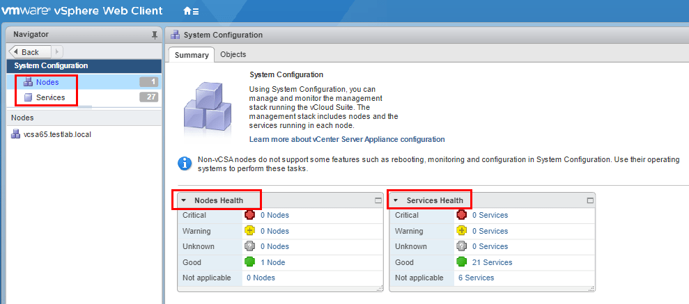 VCSA-system-configuration-nodes-and-services Monitor and Troubleshoot VMware vCenter Server VCSA Performance