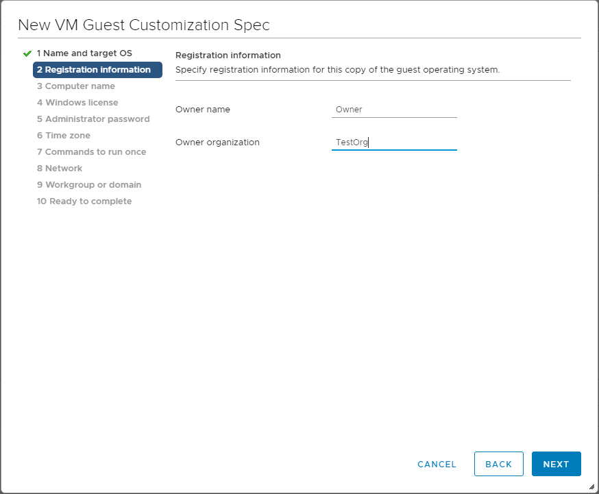 VM-Customization-Specification-customize-registration-information Using VMware vSphere VM Customization Specification
