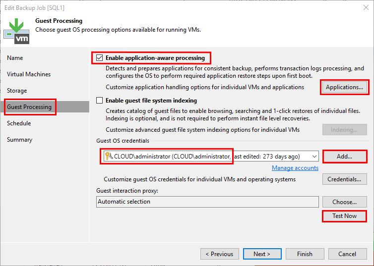 Veeam-Guest-Processing-configuration Veeam SQL Transaction Log Backups