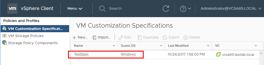 Verify-we-have-the-new-VM-customization-specification-in-Policies-and-profiles Using VMware vSphere VM Customization Specification