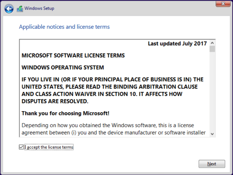 Accept-Windows-10-license-agreement Installing Windows 10 Pro for Workstations