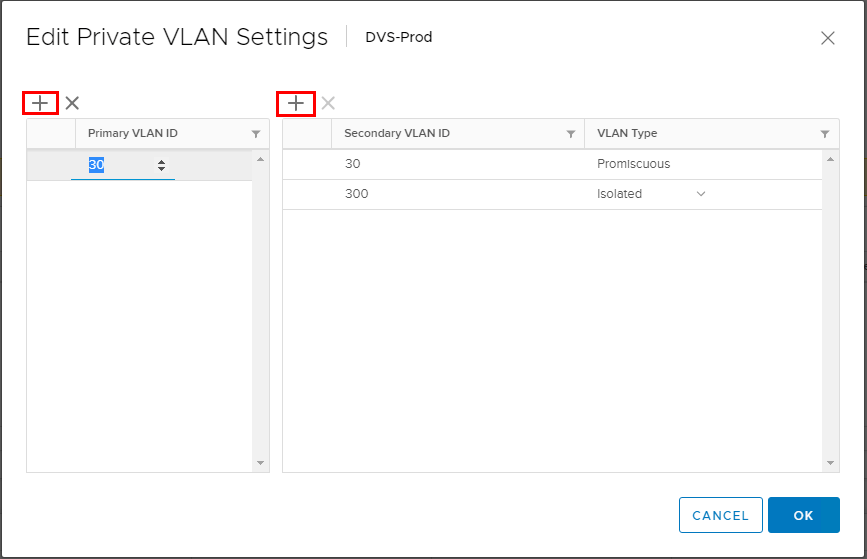 Add-the-primary-PVLAN-and-the-secondary-VLAN-and-type Configure VMware Distributed Switch Private VLANs