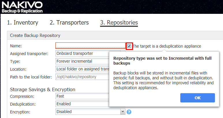 Check-the-box-for-target-is-a-deduplication-appliance NAKIVO Backup and Replication 7.3 Beta Released