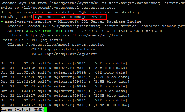 Checking-the-status-of-the-SQL-Server-2017-service-after-installation Install SQL Server 2017 on Ubuntu Server
