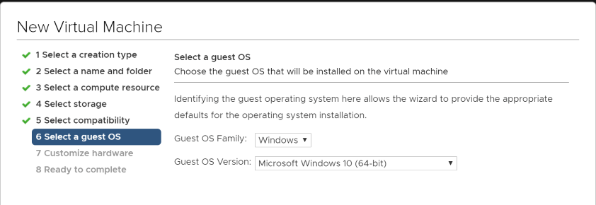 In-VMware-ESX-6.5-choosing-Windows-10-64-bit-for-guest-OS-type Installing Windows 10 Pro for Workstations