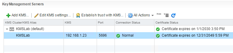 After-establishing-trust-between-the-Hytrust-KeyControl-server-and-vCenter Hytrust VMware Virtual Machine Encryption