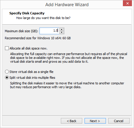 Choose-to-create-a-small-hard-disk-to-install-the-driver Change Boot Drive to NVMe Storage Controller in VMware Workstation 14