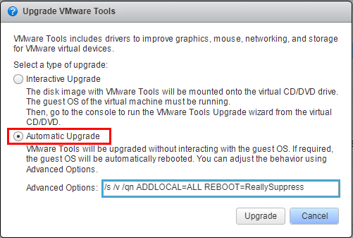 Choosing-the-VMware-Tools-Upgrade-option Upgrade VMware Tools to Latest Version