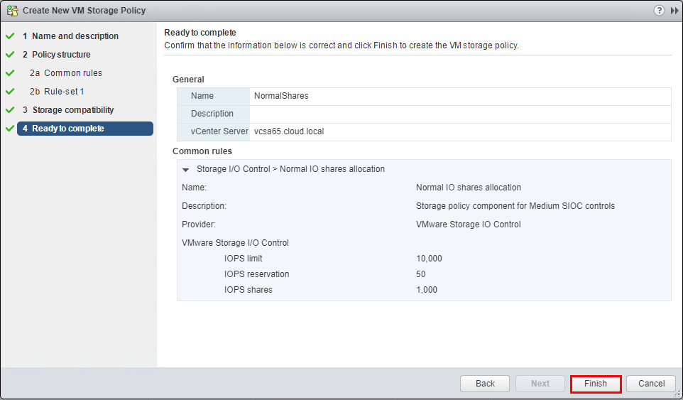 Complete-the-new-VM-Storage-Policy-creation Setup and Configure VMware vSphere 6.5 Storage I/O Control