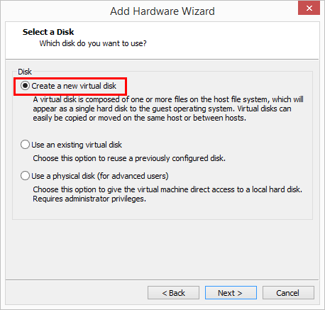Create-a-new-hard-disk Change Boot Drive to NVMe Storage Controller in VMware Workstation 14