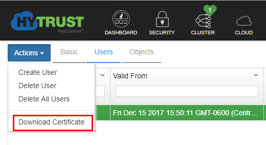 Download-the-certificate-for-the-newly-created-user Hytrust VMware Virtual Machine Encryption