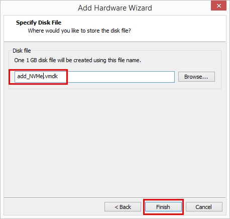 Name-the-hard-disk-and-finish Change Boot Drive to NVMe Storage Controller in VMware Workstation 14