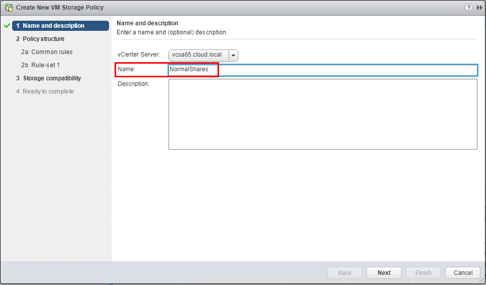 Name-the-new-vm-storage-policy Setup and Configure VMware vSphere 6.5 Storage I/O Control