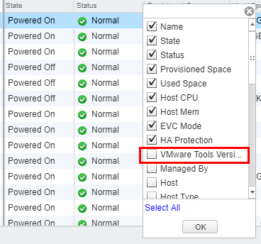 Select-the-VMware-Tools-Version-status-checkbox Upgrade VMware Tools to Latest Version