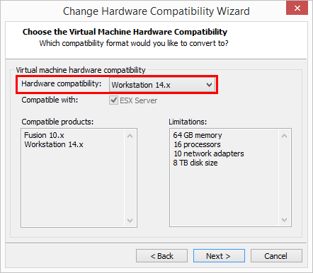 Setting-the-Hardware-Compatibility-Level-to-VMware-Workstation-14.x Change Boot Drive to NVMe Storage Controller in VMware Workstation 14