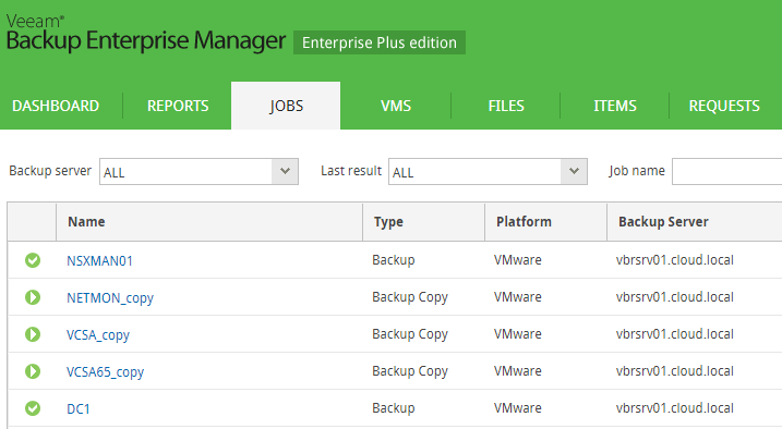 Viewing-jobs-across-the-Veeam-Backup-environment Monitor Veeam Backups with Veeam Backup Enterprise Manager