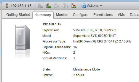 ESXi-6.5-Update-1-version-before-patching VMware Performance Impact of Meltdown and Spectre Patches