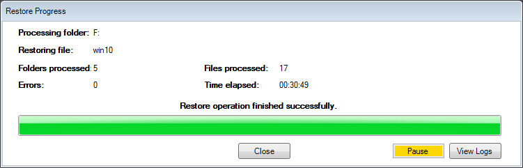 Restore-operation-finishes-successfully Perform Live Backups of VMware Workstation Virtual Machines