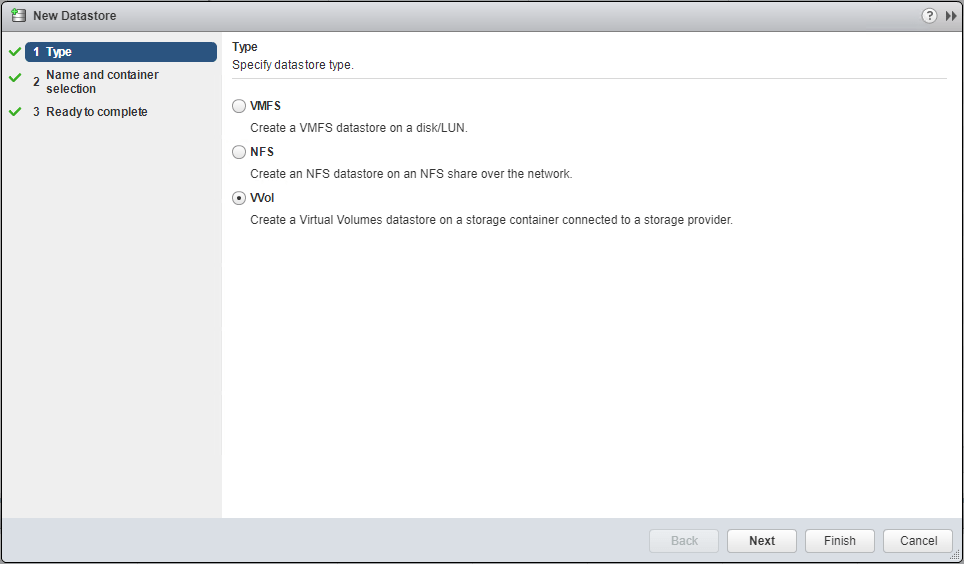Add-new-VVol-datastore VMware VVol Testing with Dell EMC Unity VSA