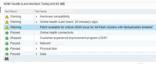 Message-that-patch-is-available-for-critical-vSAN-issue-for-all-flash-environments Update VMware vSAN Witness Appliance