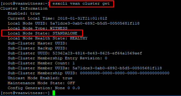 Running-the-esxcli-vsan-cluster-get-command VMware vSAN Witness Host Not Found