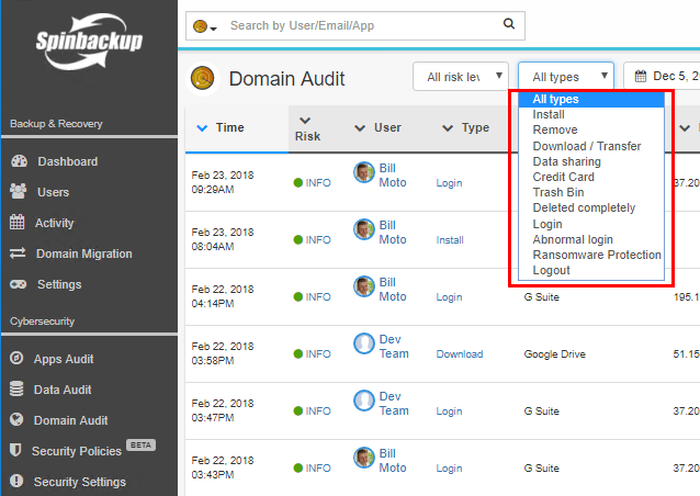 Spinbackup-Domain-Audit-dashboard How to Choose the Best CASB