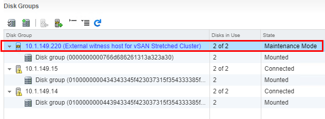 Verify-the-VMware-vSAN-Witness-Host-is-now-in-maintenance-mode Update VMware vSAN Witness Appliance